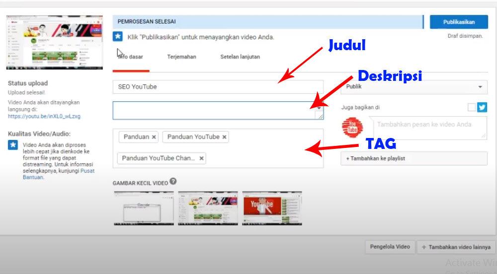 cara menambahkan tag di youtube