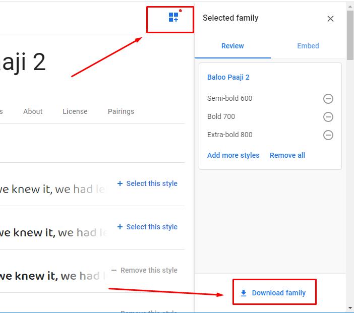 unduh font dari google font