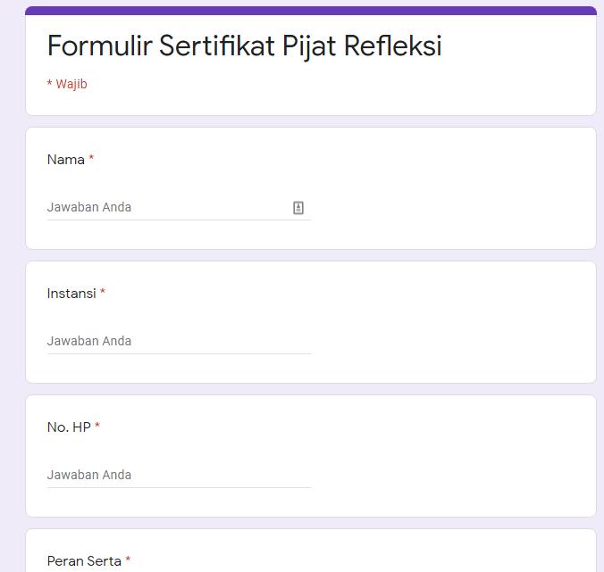 Formulir pendaftaran seminar