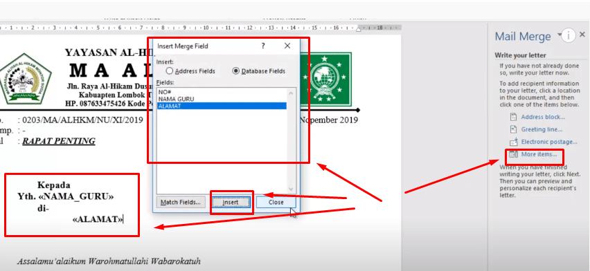 mail merge microsof word