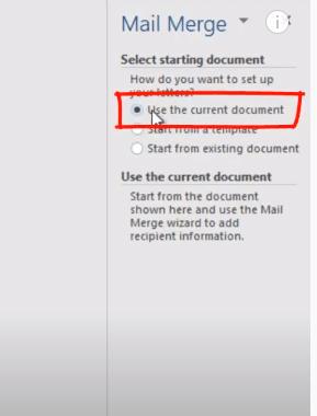 mail merge step