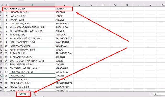 Database untuk mail merge