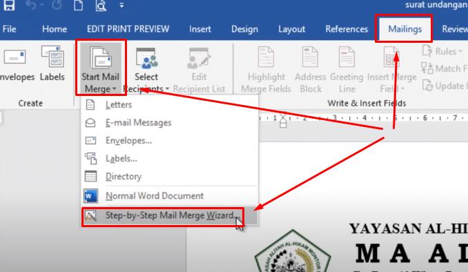 buat mail merge di ms word