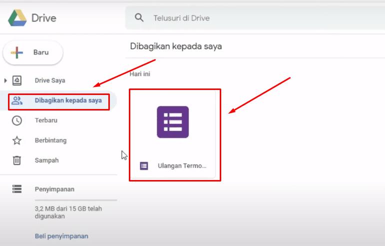 Cek file yang telah dibagikan di google drive