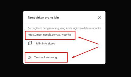 undang peserta di google meet
