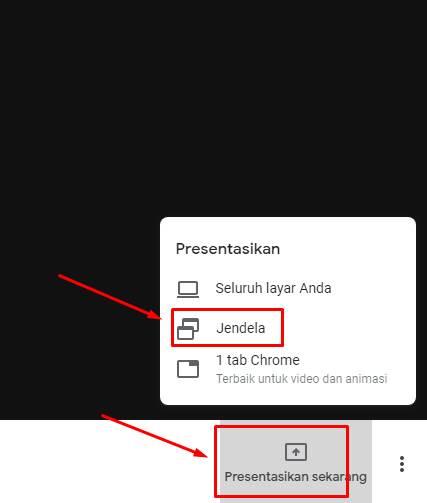 menu presentasi di google meet