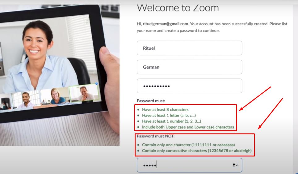 Registrasi di aplikasi zoom