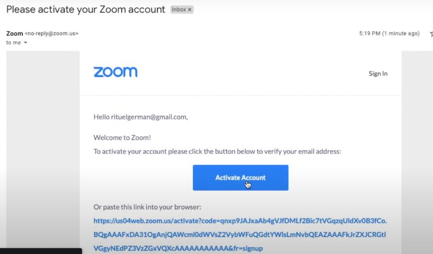 Validasi akun zoom di email