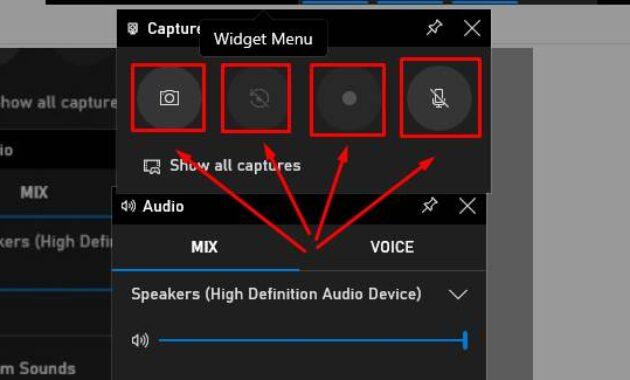 menu pada aplikasi perekam layar windows 10