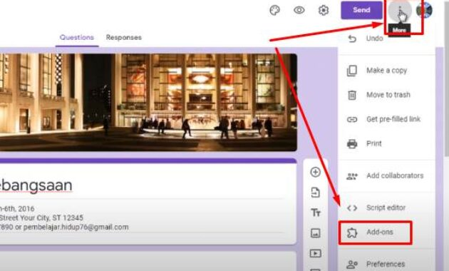 install add-on email notification  for google form